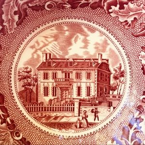 Vintage Dining - Antique Historic America porcelain dish